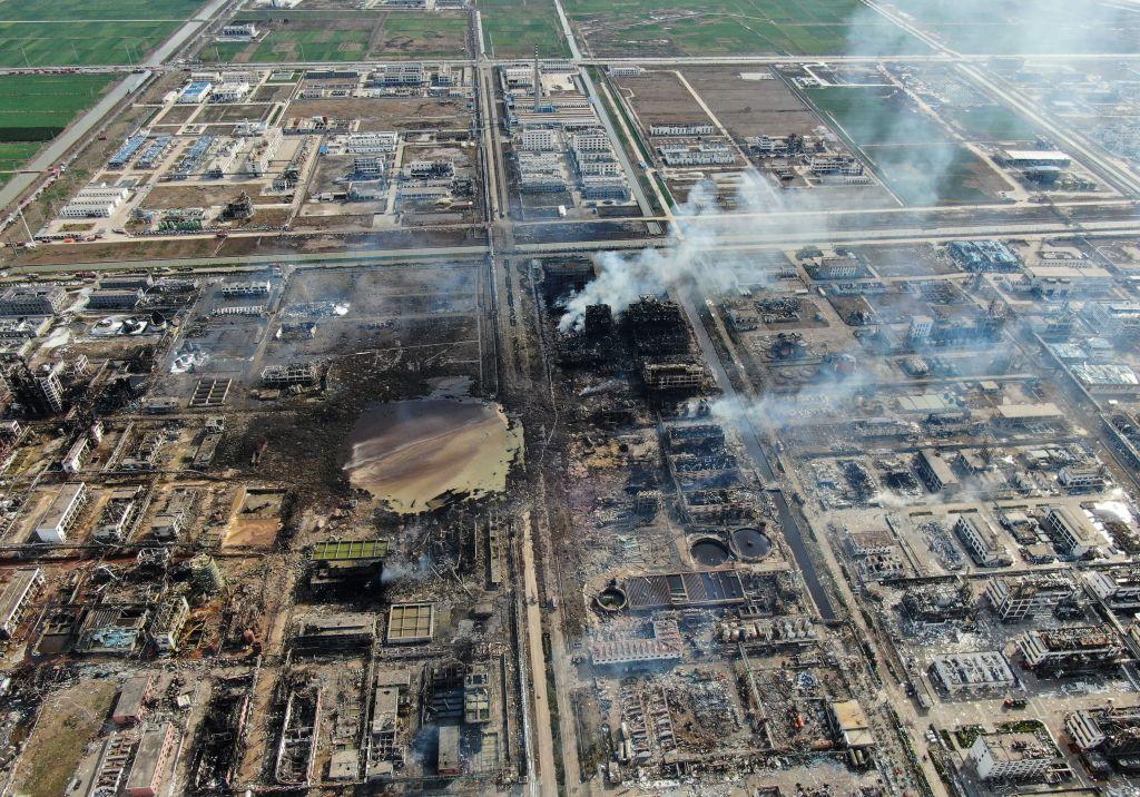 從陸媒公佈的爆炸現場航拍畫面看,廢墟一片,滿目瘡夷。(STR/AFP/Getty Images)