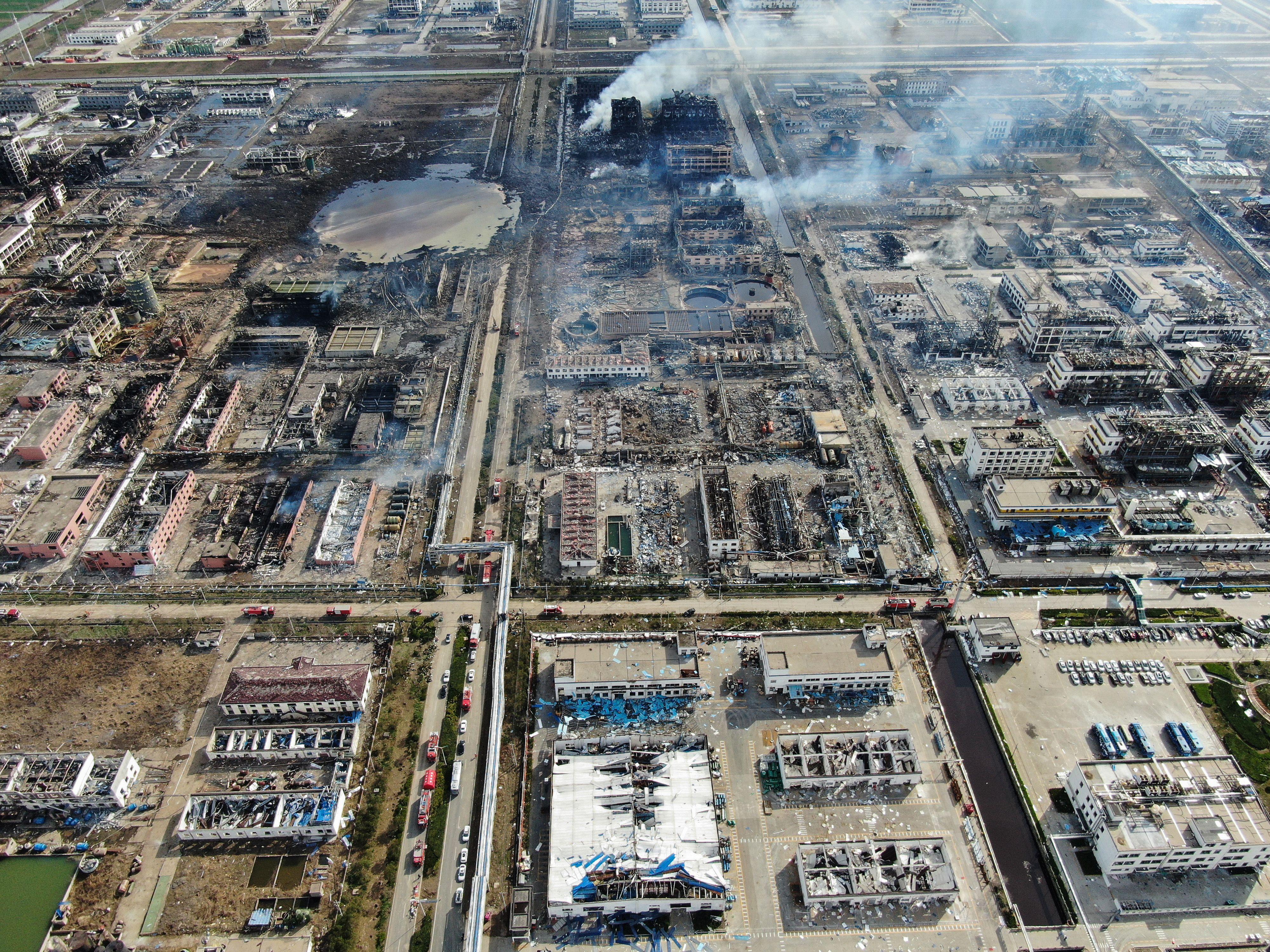 3月21日,江蘇省響水縣生態化工園區內的天嘉宜化工有限公司發生爆炸事故。(STR/AFP/Getty Images)