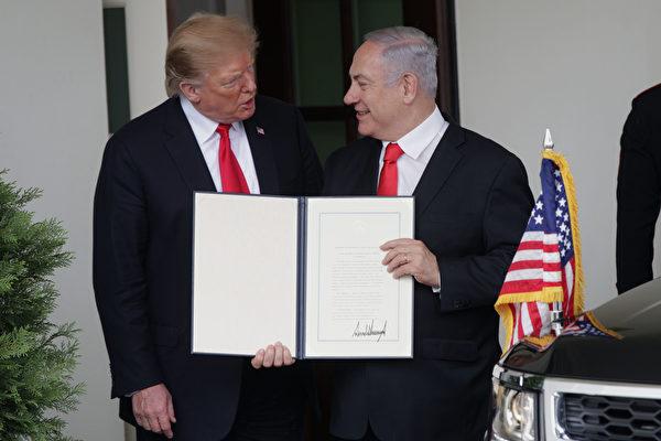 以色列總理內塔尼亞胡(Netanyahu)讚揚特朗普的決定是「歷史性」的。(Alex Wong/Getty Images)