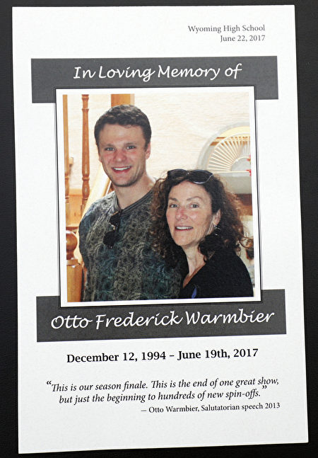 WYOMING, OH-JUNE 22: The memorial program for the funeral of Otto Warmbier is shown at Wyoming High School, site of the funeral, une 22, 2017 in Wyoming, Ohio. Warmbier, the 22-year-old college student who was released from a North Korean prison last Tuesday after spending 17 months in captivity for allegedly stealing a propaganda poster, died Monday, June 19th in a Cincinnati hospital, after having been in a coma. (Photo by Bill Pugliano/Getty Images)