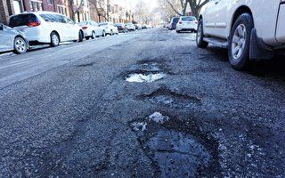 寒冬後芝加哥道路坑洞劇增 投訴漲22%