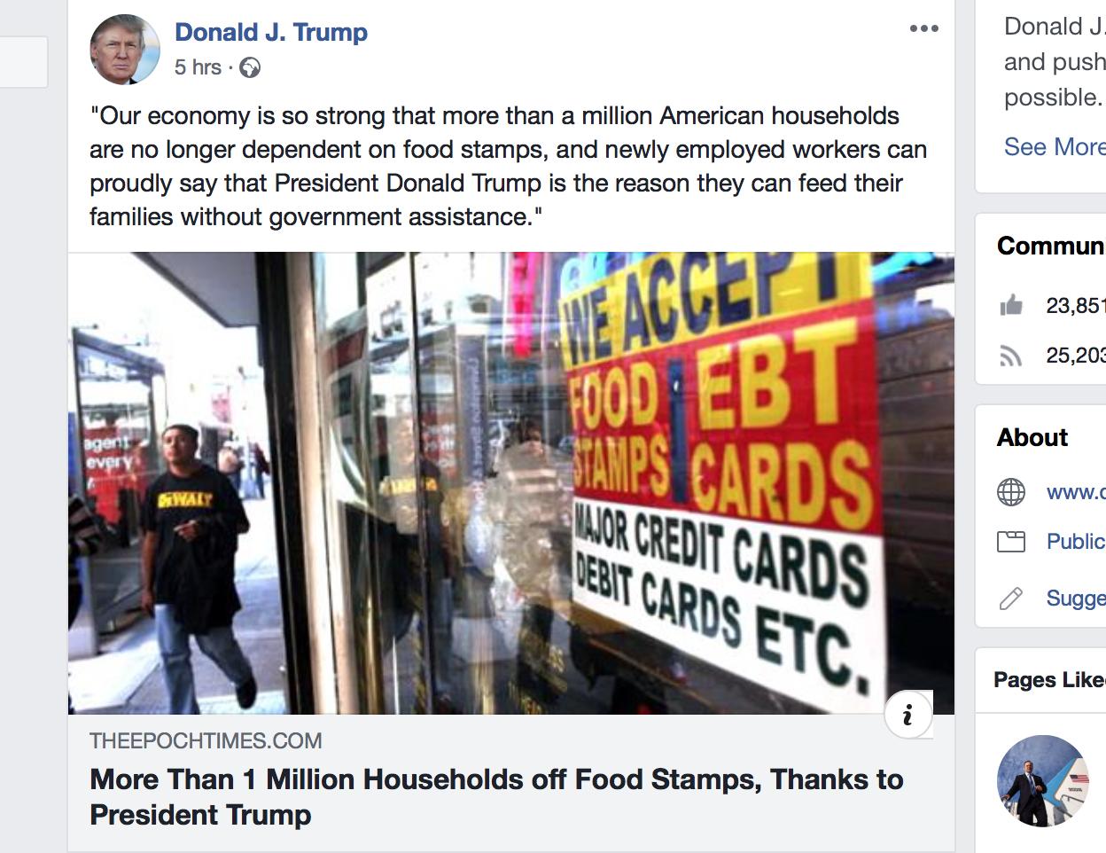 百萬家庭擺脫食品券 大紀元文章獲特朗普推送