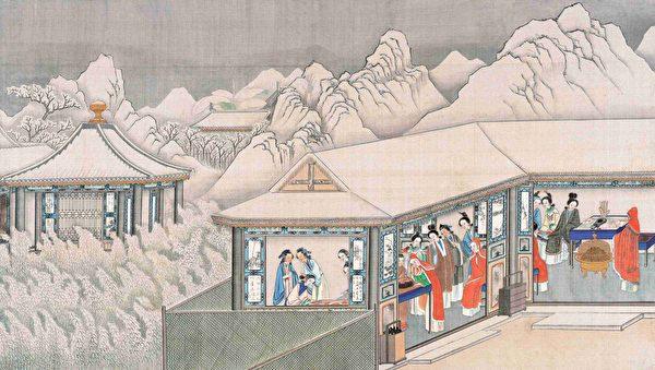清 孫溫彩繪《全本紅樓夢》插圖,割腥啖膻。(公有領域)