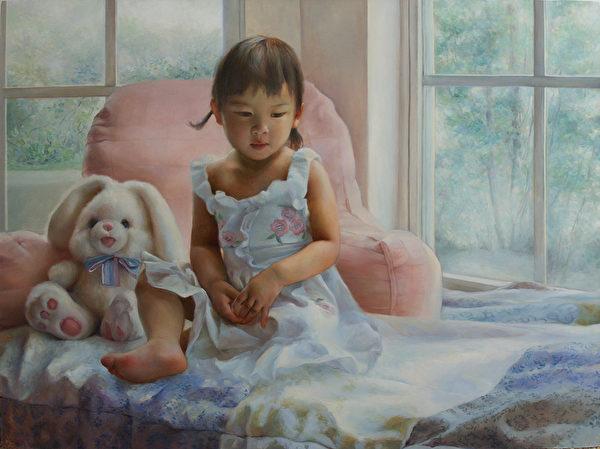 《纯真》,2008年第一届大赛参赛作品。(新唐人全世界写实人物油画大赛组委会提供)