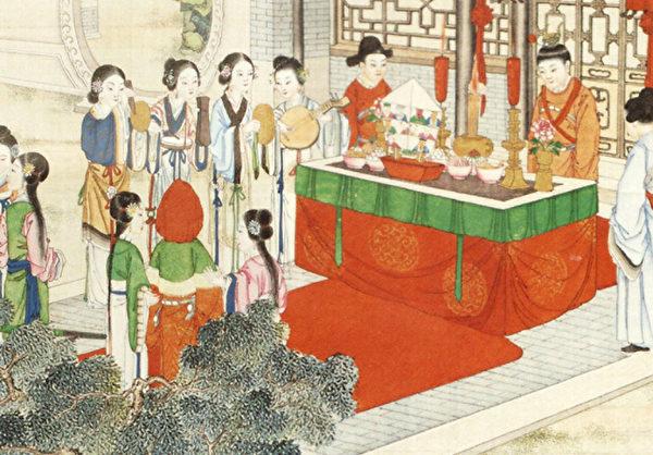 薛宝钗出阁成大礼,清孙温绘《红楼梦全本》第97回插图。(公有领域)