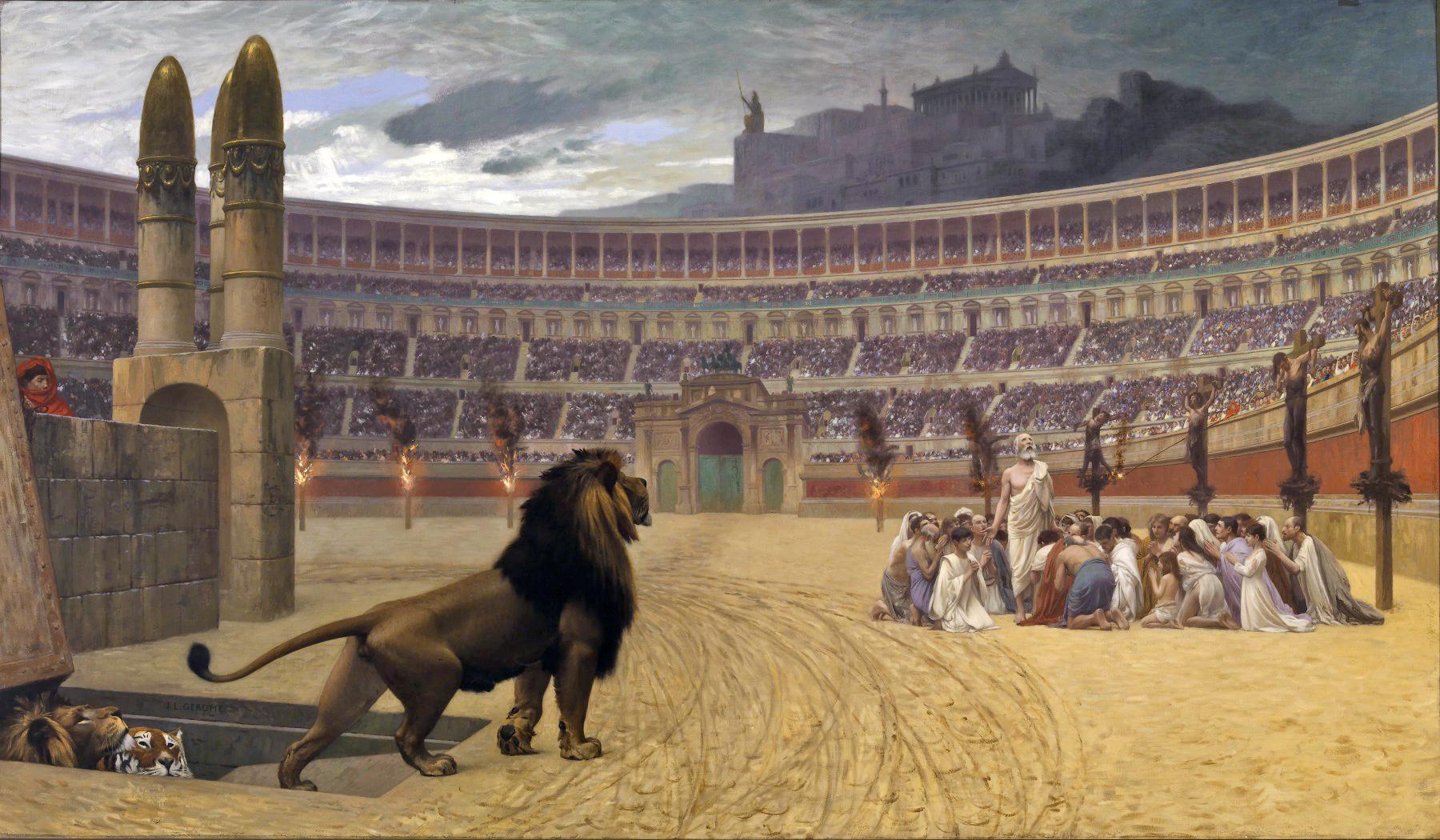 《基督殉道者最後的祈禱》(The Christian Martyrs Last Prayer),描述了古羅馬殘酷迫害基督教徒的情景:競技場周圍的柱子上,左邊是遭受火刑的基督徒,右邊是十字架處死的基督徒,中間一群基督徒則將被猛獸撕碎,而看台上無數的民眾毫無同情心地觀看著這慘烈的情景。(Soerfm/Wikimedia commons)