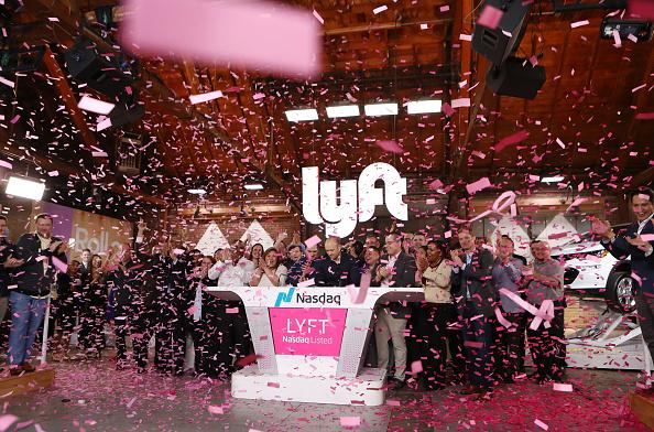 手機叫車公司Lyft 週五(3月29日)在納斯特交易所首日掛牌上市。(Mario Tama/Getty Images)
