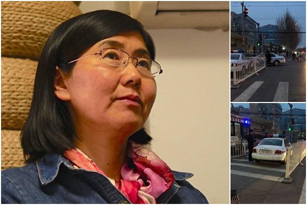 3月27日晚6時26分許,大陸知名人權律師王宇在美國駐京大使館門口處,被警察強行拖到警車上戴背銬帶走。目前被關押在麥子店派出所。(受訪者提供)