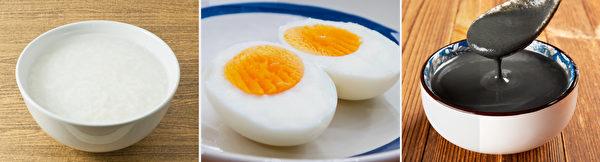 帮助提神、补充体力和脑力的早餐食物:白米粥、鸡蛋、黑芝麻糊。(Shutterstock)