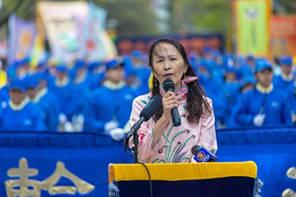 易蓉表示,法輪功學員和平上訪,為和平理性反迫害樹立了一座崇高的道德豐碑。(Mark Zou/大紀元)