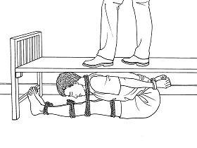中共酷刑示意圖:壓床板。(明慧網)