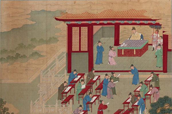 《帝鉴图说》插图《召试县令》,描绘唐玄宗将新选二百余县令召至殿前,亲自出题考试。(公有领域)