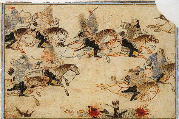 圖為柏林國家圖書館所藏的波斯細密畫冊Diez Albums中的蒙古兵征戰場景。(公有領域)