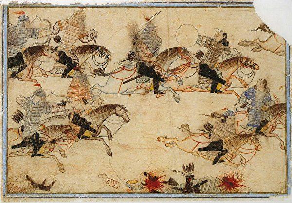 图为柏林国家图书馆所藏的波斯细密画册Diez Albums中的蒙古兵征战场景。(公有领域)