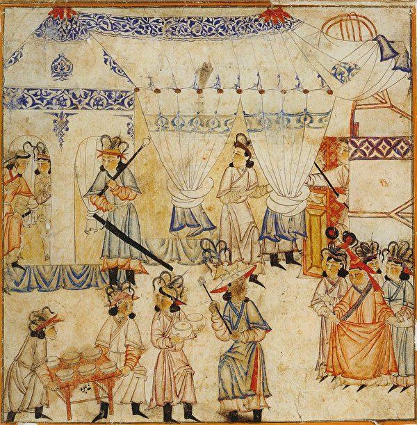 图为柏林国家图书馆所藏的波斯细密画册Diez Albums中描绘的蒙古帝国皇后筹备飨宴的场景。(公有领域)