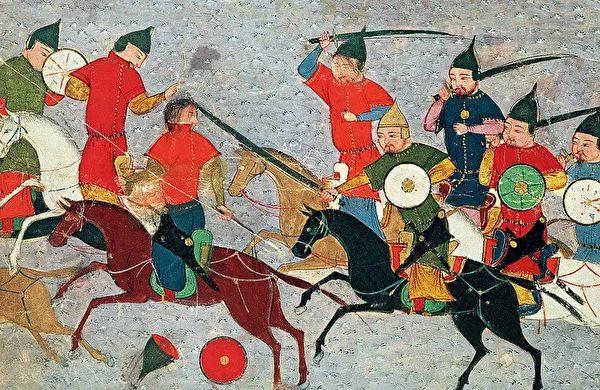 拉施德丁所着《史集》(Jami al-Tawarikh)中描绘的成吉思汗征战场景。(公有领域)