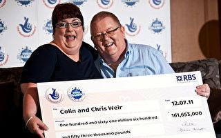 英国最大彩票奖金得主宣布离婚