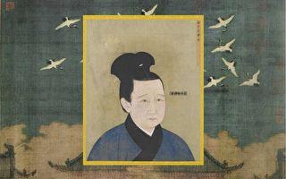 宋哲宗孟皇后像,出自《宋代后半像册》,北京故宫南熏殿旧藏。背景:北宋徽宗赵佶《瑞鹤图》,辽宁省博物馆藏。(公有领域)