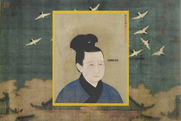 宋哲宗孟皇后像,出自《宋代后半像冊》,北京故宮南熏殿舊藏。背景:北宋徽宗趙佶《瑞鶴圖》,遼寧省博物館藏。(公有領域)