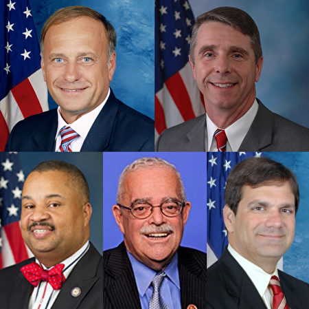 五位美國國會議員致信支持法輪功學員。第一行(從左至右):史蒂夫·金(Steve King)、羅伯特·惠特曼(Robert Wittman);第二行(從左至右):唐納德·佩恩(Donald Payne)、蓋瑞·康納利(Gerry Connolly)、古斯·比利雷基斯(Gus Bilirakis)。(大紀元合成)