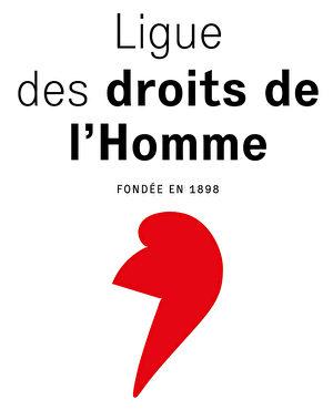 """法国著名人权组织""""人权联盟""""(Ligue des droits de l'homme)标志。(关宇宁/大纪元)"""