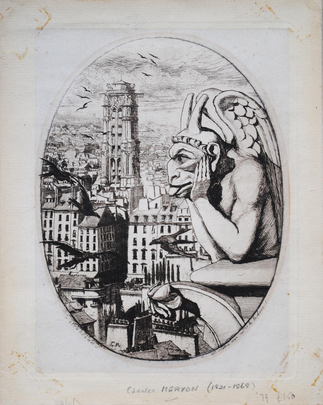 夏爾·梅裏庸的蝕刻版畫作品《思提志》(Le Stryge)。(公有領域)