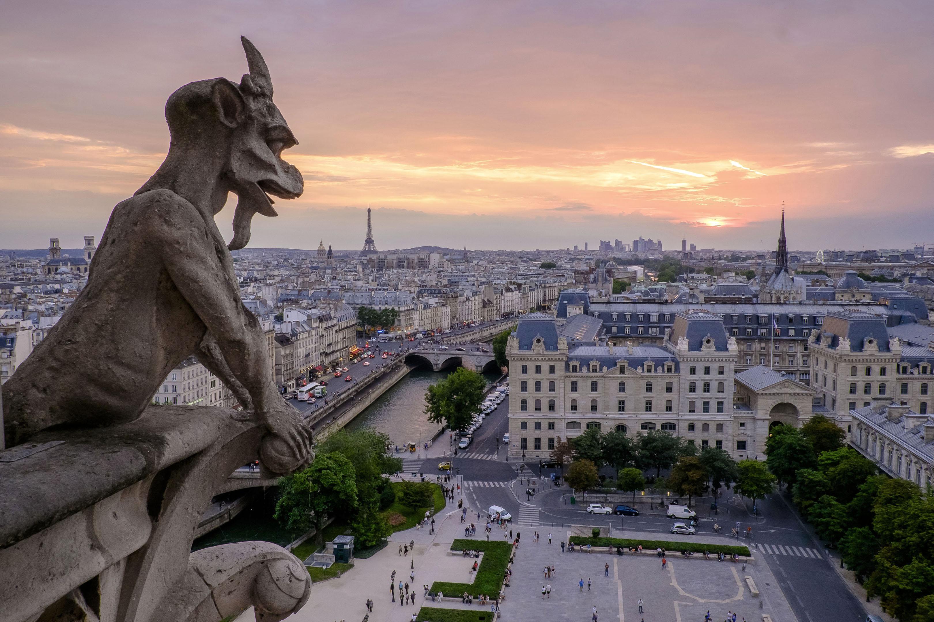 巴黎聖母院的石像獸俯視著日出時分的塞納河。(公有領域)