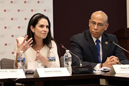 4月9日,網絡安全政策專家薩姆·薩克斯(Samm Sacks,左)在技術政策研究所(Technology Policy Institute, TPI)的研討會上發言。(林樂予/大紀元)