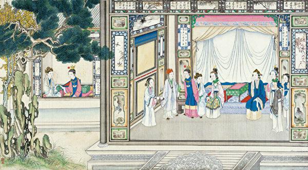 图为清·孙温彩绘《红楼梦》插图。(公有领域)