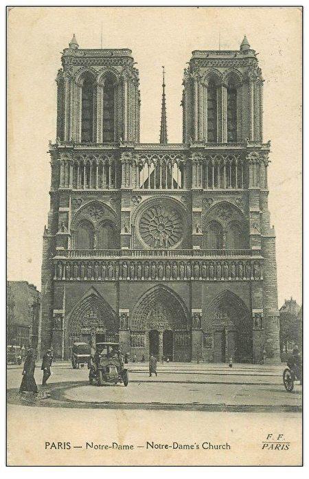 1919年的巴黎圣母院照片。(公有领域)