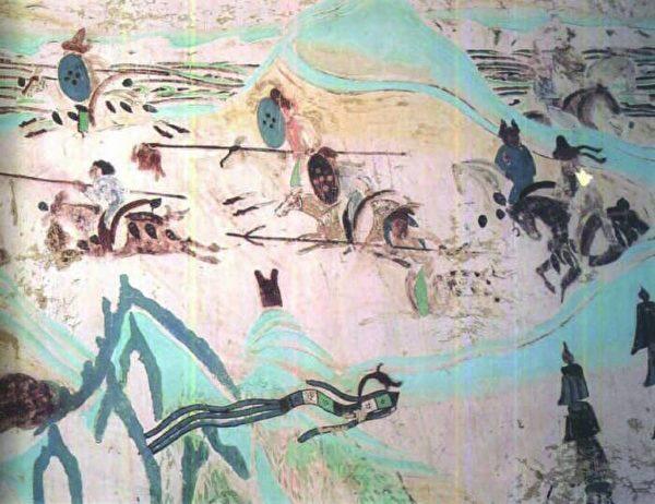 敦煌壁画征战图。(公有领域)