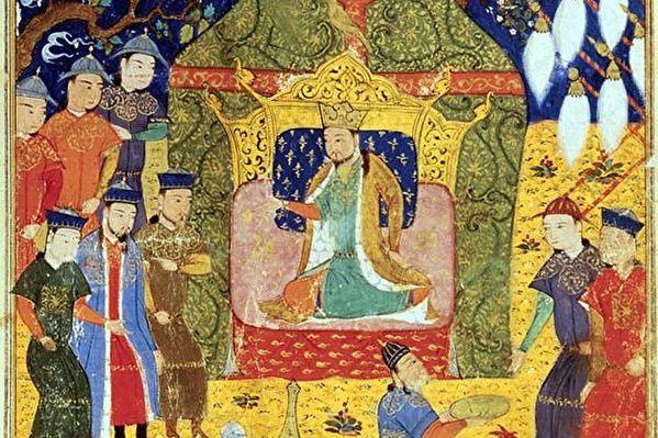 拉施德丁所着《史集》(Jami al-Tawarikh)中描绘的成吉思汗加冕图。(公有领域)