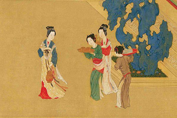 明仇英《汉宫春晓图》(局部),台北故宫博物院藏。(公有领域)