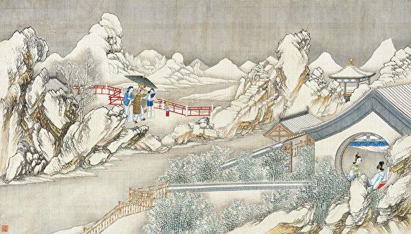 清孙温绘《红楼梦》第45回,金兰契互剖金兰语,风雨夕闷制风雨词 。(公有领域)