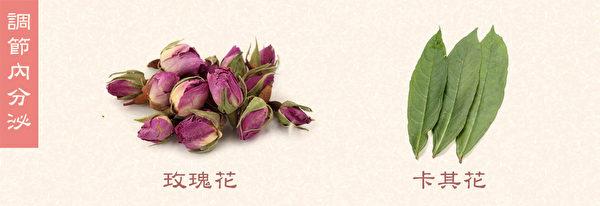 玫瑰花加卡其花沖泡可調節內分泌。(Shutterstock/大紀元製圖)