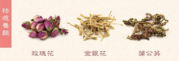 玫瑰花和金銀花茶可改善因壓力大,內分泌失調引起的痘痘,痘裡有膿可加蒲公英。(Shutterstock/大紀元製圖)