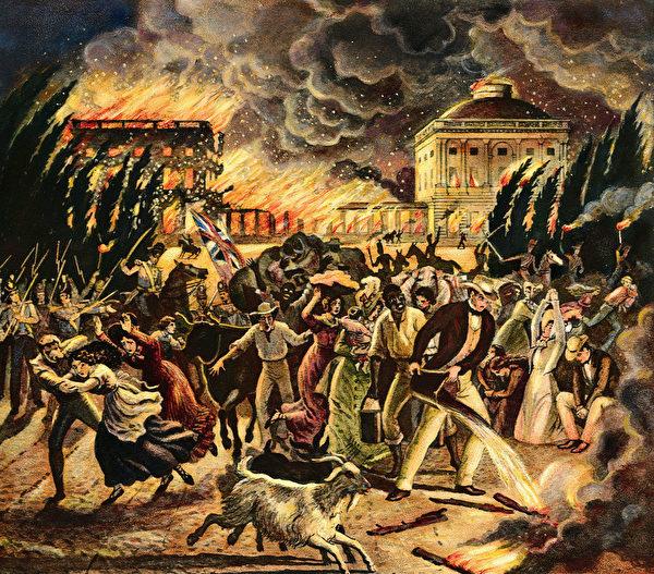"""""""1812年战争""""(第二次独立战争)期间,英国人于1814年8月纵火焚烧国会山庄和白宫。美国国会图书馆藏画。(公有领域)"""