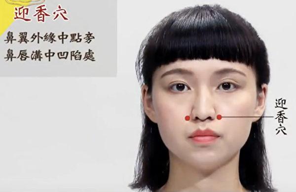 按摩迎香穴可以改善鼻塞。(《谈古论今话中医》提供)