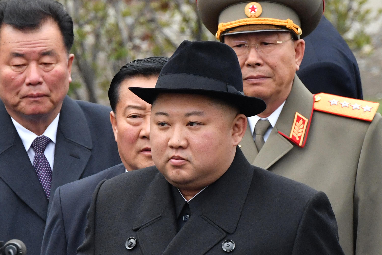 南韓《朝鮮日報》報道說,北韓領導人金正恩迄今已有十幾天未公開露面,可能是健康狀況出現異常。圖為2019年4月26日,金正恩在俄羅斯海參崴參加一項二戰紀念儀式。(Yuri KADOBNOV/AFP)
