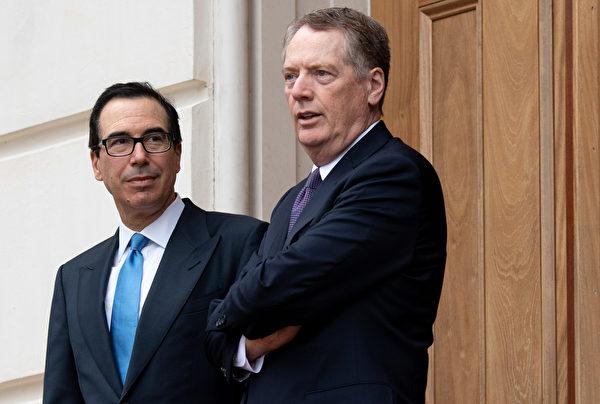 過去幾個月,萊特希澤(右)和姆欽(左)一直在與中國(共)進行貿易談判,而萊特希澤一直謹慎指出,無法保證成功。(SAUL LOEB/AFP)