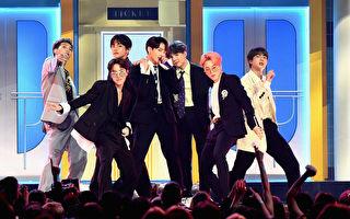 防弹少年团于2019 Billboard Music Awards演出照。(Ethan Miller/Getty Images)