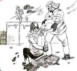 中共酷刑折磨示意圖:澆冷水。(明慧網)