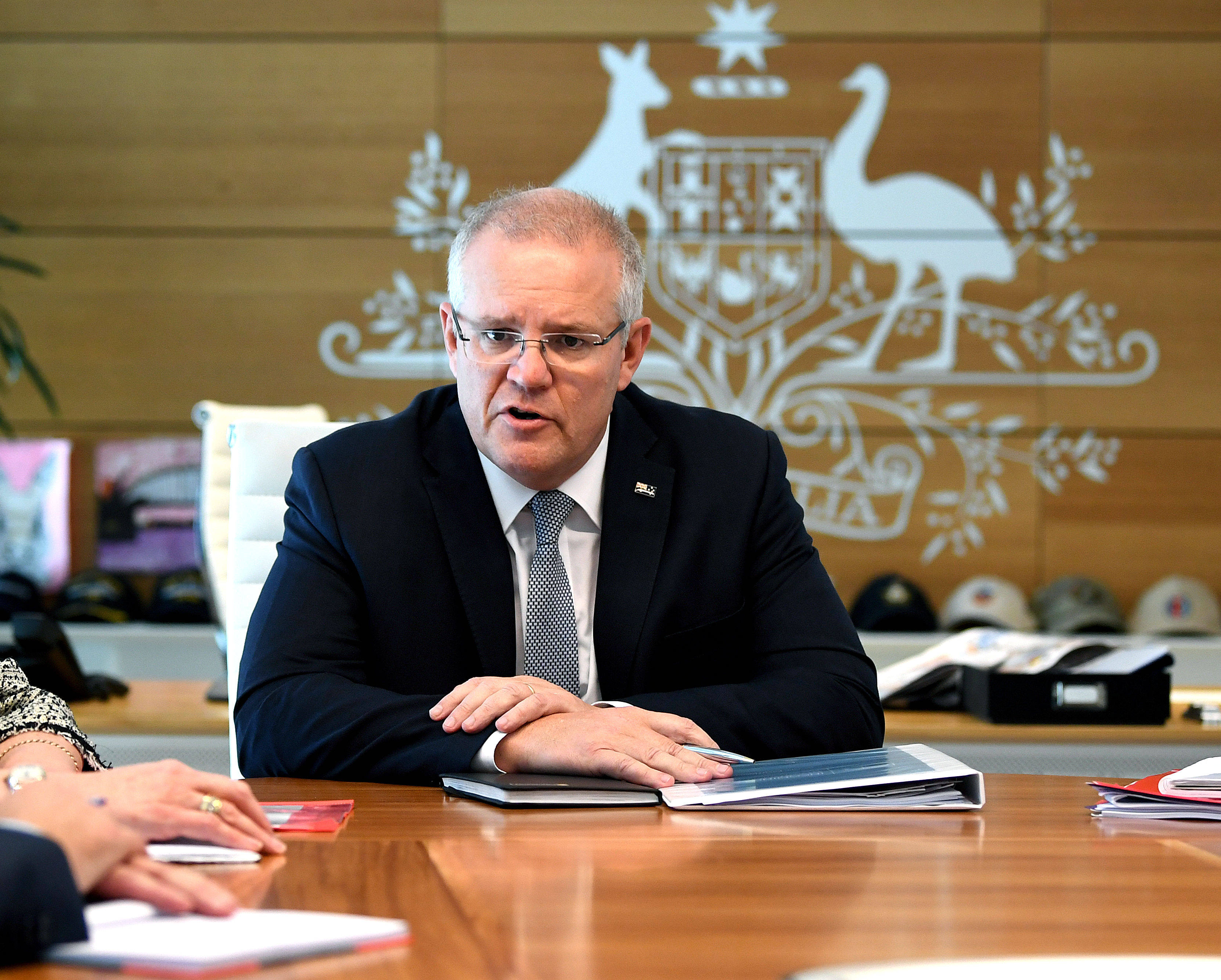 5月18日澳洲聯邦大選,贏得連任的總理莫里森。 (AAP Image/Joel Carrett)