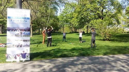 法輪功學員在呂嫩市麗波公園義務教功。(大紀元)