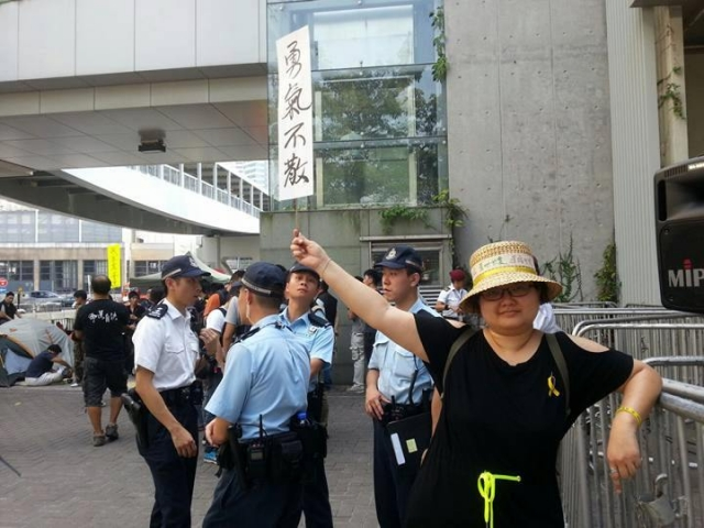 2015年9月28日,鍾慧沁參與雨傘運動一周年紀念活動。(鍾慧沁提供)