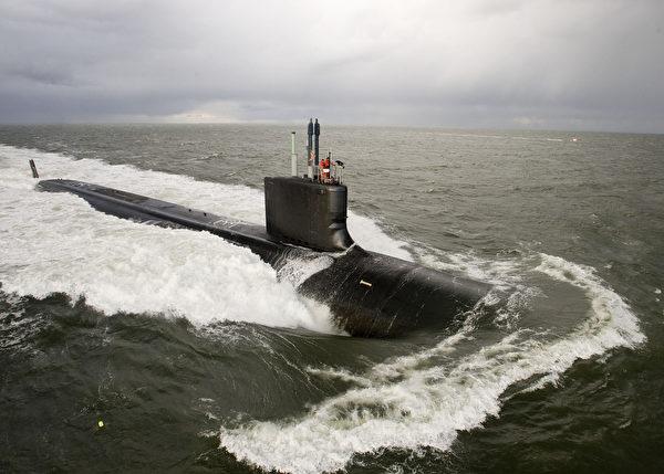 圖為美國維珍尼亞級核動力潛艦。 (HO / US NAVY / AFP)