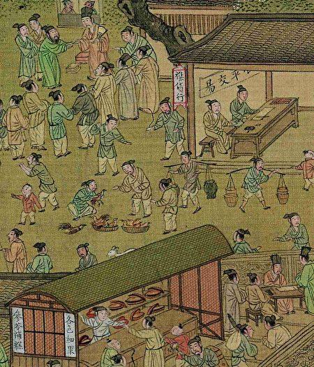 明仇英《清明上河圖》描繪的市井雞販。(公有領域)