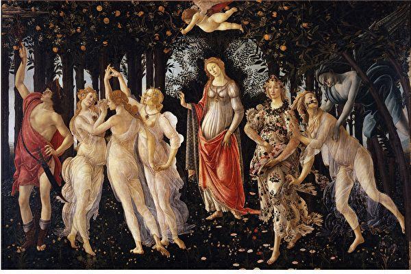 [意] 桑德羅·波提切利(Sandro Botticelli,1445—1510),《春》(Primavera),木板蛋彩畫,202 × 314 cm,佛羅倫薩烏菲茲美術館藏。(公有領域)