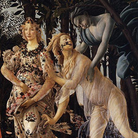 西風追逐大地仙女,使之變身花神,桑德羅·波提切利(Sandro Botticelli)《春》(Primavera)局部。(公有領域)
