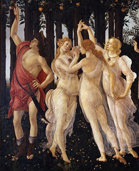 美惠三女神與信使墨丘利,桑德羅·波提切利(Sandro Botticelli)《春》(Primavera)局部。(公有領域)